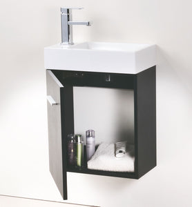 "Kubebath - Bliss 18"" Black Wall Mount Modern Bathroom Vanity"