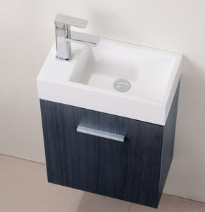 "Kubebath - Bliss 18"" High Gloss Gray Oak Wall Mount Modern Bathroom Vanity"