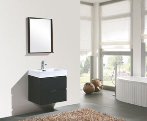 "Kubebath - Bliss 24"" Black Wall Mount Modern Bathroom Vanity"