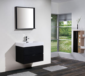 "Kubebath - Bliss 30"" Black Wall Mount Modern Bathroom Vanity"