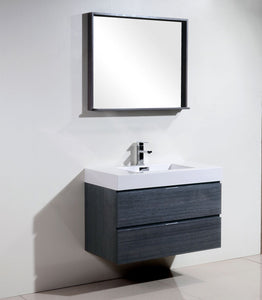 "Kubebath - Bliss 36"" Gray Oak Wall Mount Modern Bathroom Vanity"