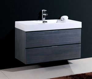"Kubebath - Bliss 40"" Gray Oak Wall Mount Modern Bathroom Vanity"