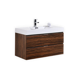 "Bliss 40"" Walnut Wall Mount Modern Bathroom Vanity"