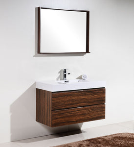 "Kubebath - Bliss 40"" Walnut Wall Mount Modern Bathroom Vanity"