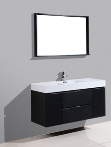 "Kubebath - Bliss 48"" Black Wall Mount Modern Bathroom Vanity"