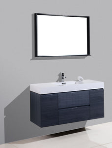"Kubebath - Bliss 48"" Gray Oak Wall Mount Modern Bathroom Vanity"