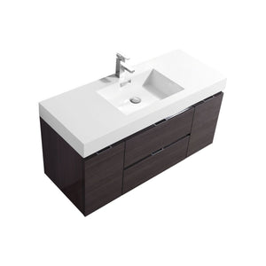 "Bliss 48"" High Gloss Gray Oak Wall Mount Modern Bathroom Vanity"
