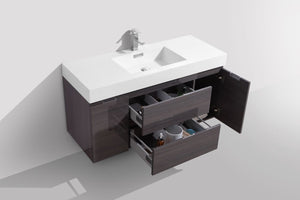 "Kubebath - Bliss 48"" High Gloss Gray Oak Wall Mount Modern Bathroom Vanity"