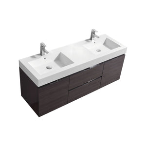 "Bliss 60"" Double Sink High Gloss Gray Oak Wall Mount Modern Bathroom Vanity"
