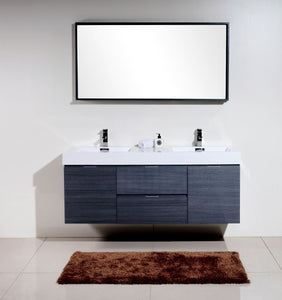 "Kubebath - Bliss 60"" Double Sink Gray Oak Wall Mount Modern Bathroom Vanity"