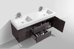 "Kubebath - Bliss 60"" Double Sink High Gloss Gray Oak Wall Mount Modern Bathroom Vanity"
