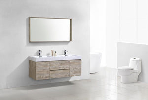 "Kubebath - Bliss 60"" Double  Sink Nature Wood Wall Mount Modern Bathroom Vanity"