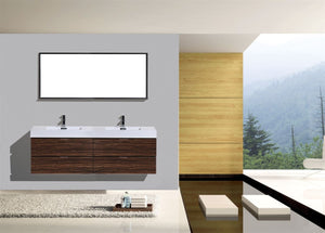 "Kubebath - Bliss 72"" Double  Sink Walnut Wall Mount Modern Bathroom Vanity"