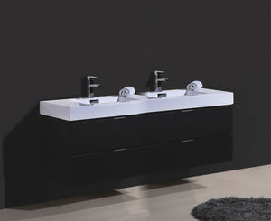 "Kubebath - Bliss 80"" Double  Sink Black Wall Mount Modern Bathroom Vanity"