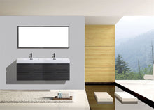 "Kubebath - Bliss 80"" Double Sink Gray Oak Wall Mount Modern Bathroom Vanity"