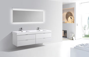 "Kubebath - Bliss 80"" Double Sink High Gloss White Wall Mount Modern Bathroom Vanity"