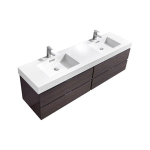 "Bliss 80"" Double Sink High Gloss Gray Oak Wall Mount Modern Bathroom Vanity"