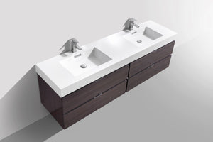 "Kubebath - Bliss 80"" Double Sink High Gloss Gray Oak Wall Mount Modern Bathroom Vanity"