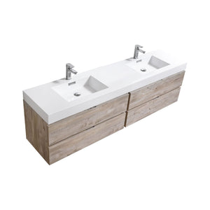"Bliss 80"" Double  Sink Nature Wood Wall Mount Modern Bathroom Vanity"