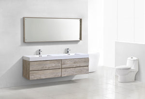 "Kubebath - Bliss 80"" Double  Sink Nature Wood Wall Mount Modern Bathroom Vanity"