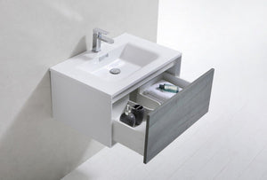 "Kubebath - Divario 30"" Ocean Gray Wall Mount Modern Bathroom Vanity"