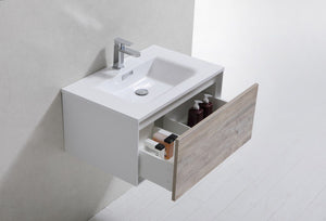 "Kubebath - Divario 30"" Nature Wood Wall Mount Modern Bathroom Vanity"