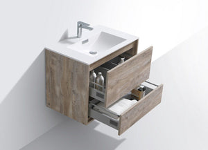"Kubebath - Delusso 30"" Nature Wood Wall Mount Modern Bathroom Vanity"
