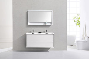"Kubebath - Delusso 48"" Double Sink High Glossy White Wall Mount Modern Bathroom Vanity"
