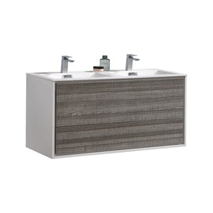 "DeLusso 48"" Double Sink  Ash Gray Wall Mount Modern Bathroom Vanity"