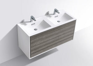 "Kubebath - Delusso 48"" Double Sink  Ash Gray Wall Mount Modern Bathroom Vanity"