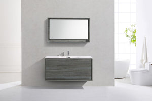 "Kubebath - Delusso 48"" Single Sink Ocean Gray Wall Mount Modern Bathroom Vanity"