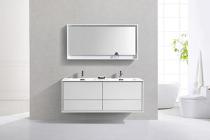 "Kubebath - Delusso 60"" Double Sink High Glossy White Wall Mount Modern Bathroom Vanity"