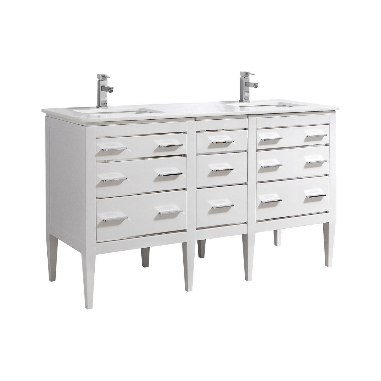 Eiffel 60'' Double Sink High Gloss White Vanity W/ Quartz Counter Top
