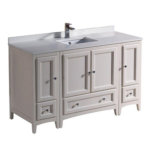 "Fresca Oxford 54"" Antique White Traditional Bathroom Cabinets w/ Top & Sink"