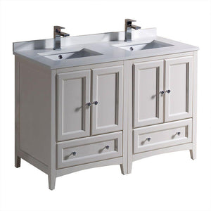 "Fresca Oxford 48"" Antique White Traditional Double Sink Bathroom Cabinets w/ Top & Sinks"