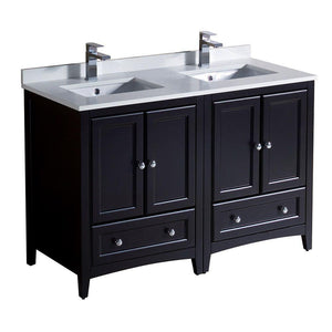 "Fresca Oxford 48"" Espresso Traditional Double Sink Bathroom Cabinets w/ Top & Sinks"