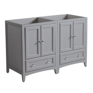 "Fresca Oxford 48"" Gray Traditional Double Sink Bathroom Cabinets"