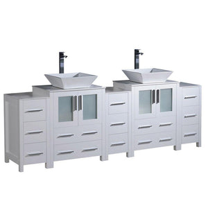 "Fresca Torino 84"" White Modern Double Sink Bathroom Cabinets w/ Tops & Vessel Sinks"