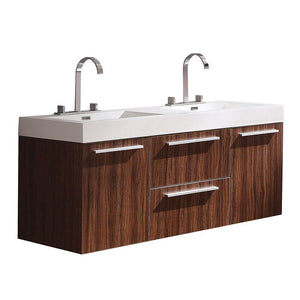 "Fresca Opulento 54"" Walnut Modern Double Sink Cabinet w/ Integrated Sinks"