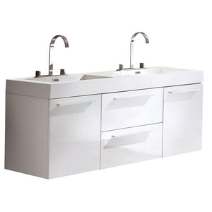 "Fresca Opulento 54"" White Modern Double Sink Cabinet w/ Integrated Sinks"