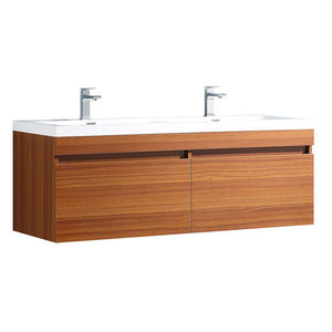 "Fresca Largo 57"" Teak Modern Double Sink Bathroom Cabinet w/ Integrated Sinks"