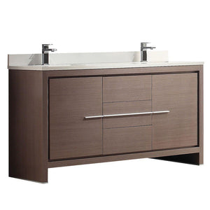"Fresca Allier 60"" Gray Oak Modern Double Sink Bathroom Cabinet w/ Top & Sinks"