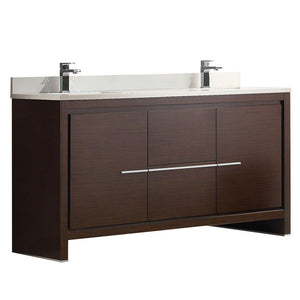 "Fresca Allier 60"" Wenge Brown Modern Double Sink Bathroom Cabinet w/ Top & Sinks"