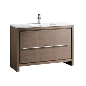 "Fresca Allier 48"" Gray Oak Modern Bathroom Cabinet w/ Sink"