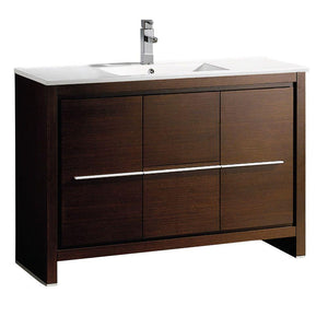 "Fresca Allier 48"" Wenge Brown Modern Bathroom Cabinet w/ Sink"