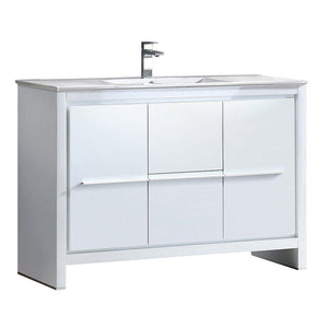 "Fresca Allier 48"" White Modern Bathroom Cabinet w/ Sink"