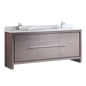 "Fresca Allier 72"" Gray Oak Modern Double Sink Bathroom Cabinet w/ Top & Sinks"