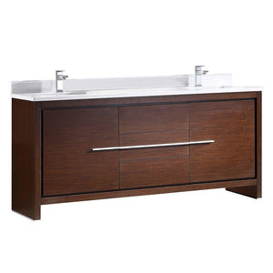 "Fresca Allier 72"" Wenge Brown Modern Double Sink Bathroom Cabinet w/ Top & Sinks"
