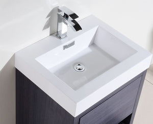 "Kubebath - Bliss 24"" Gray Oak Free Standing Modern Bathroom Vanity"