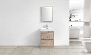"Kubebath - Bliss 24"" Nature Wood Free Standing Modern Bathroom Vanity"